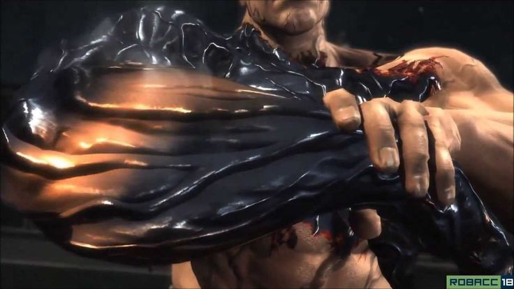 An attractive, hypothetical potential of nano technology. Shows a cyborg (metal body & carrying a sword) fighting a human enhanced with nano tech.