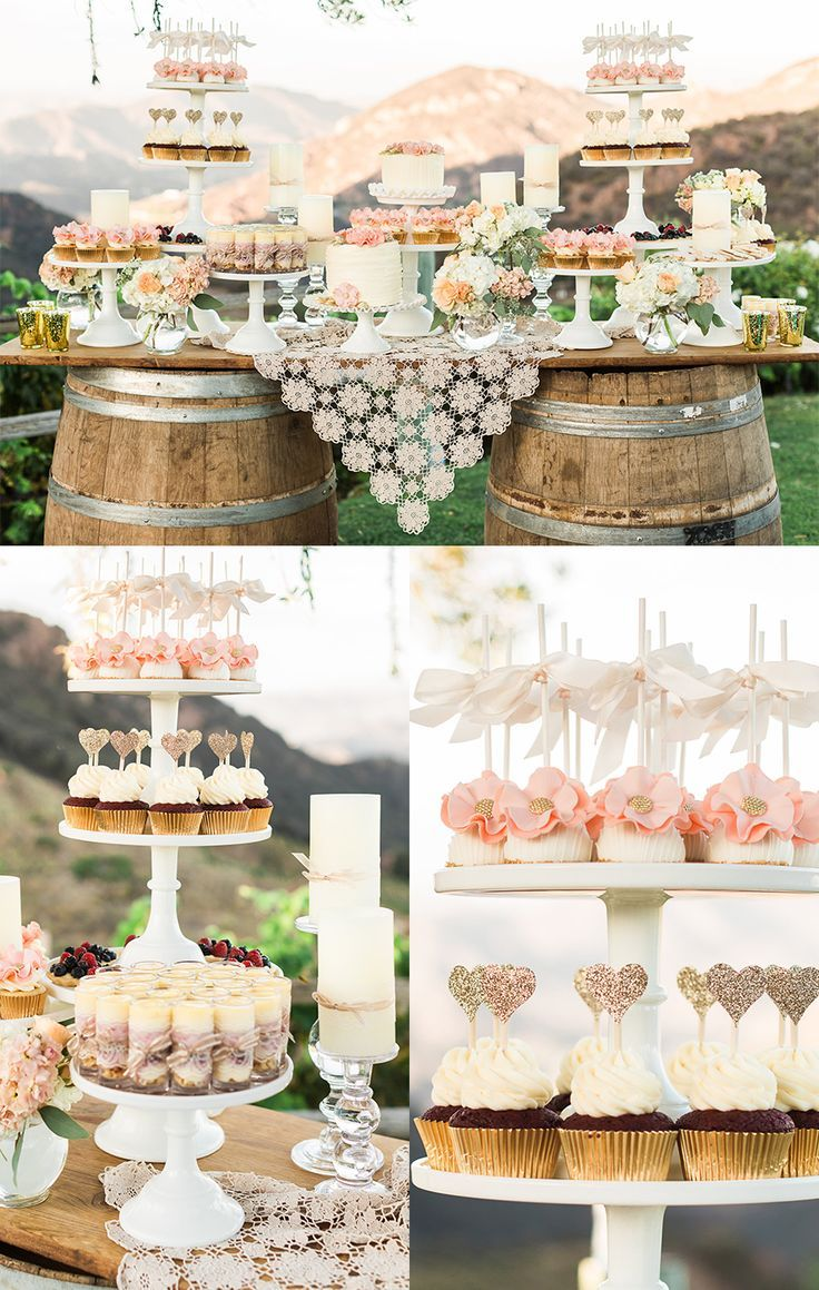 Shabby chic dessert table, rustic desserts, outdoor wedding ideas