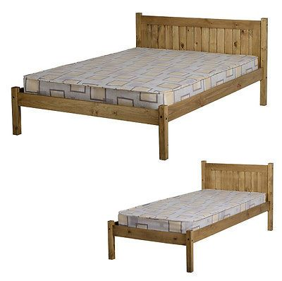 MAYA (3FT) Single OR (4ft) Small (4'6) Double DISTRESSED WAXED PINE Bed Frame