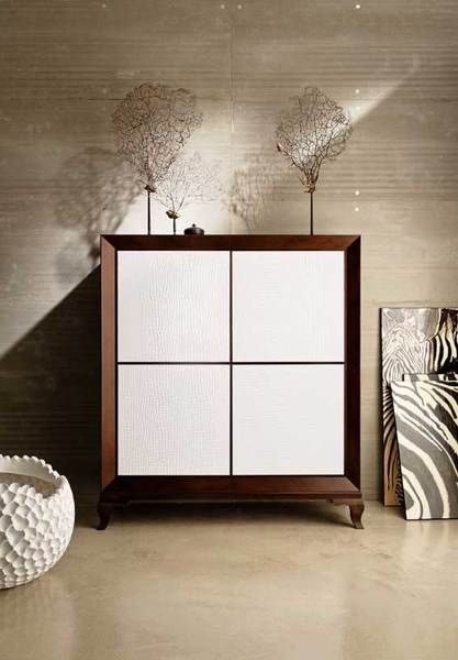 Luxury tall sideboard with crocodile leather push and pull doors