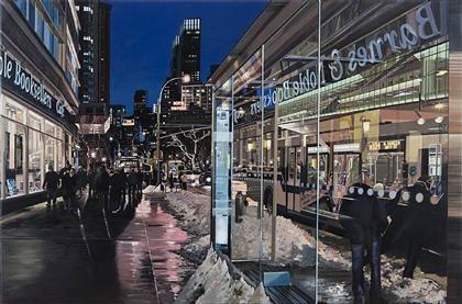 Richard Estes: Broadway Bus Stop, Near Lincoln Center