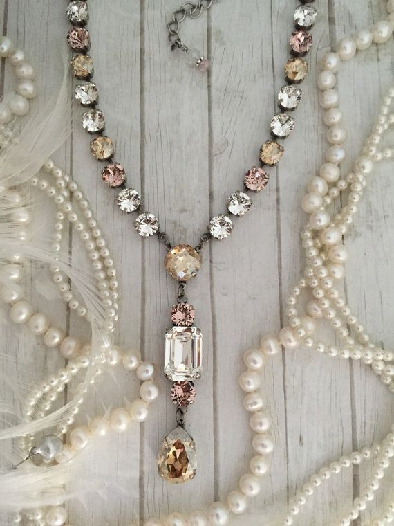 Long Lariat Style Crystal Necklace, Clear Crystal Layering Necklace, Swarovski Crystal Tennis Necklace, Rhinestone Necklace, Plunging Necklace, Y shaped Necklace, Long Layering Necklace, Extended Length, Blush Bridal Jewelry Stead Fast in ALWAYS Standing out from the Crowd and #beadedjewelry