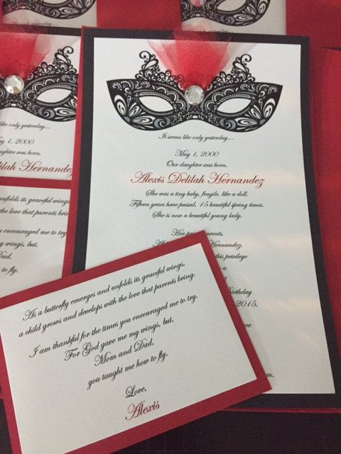 Handmade Masquerade Invitations w/ Insert by AccessorizeYourDay