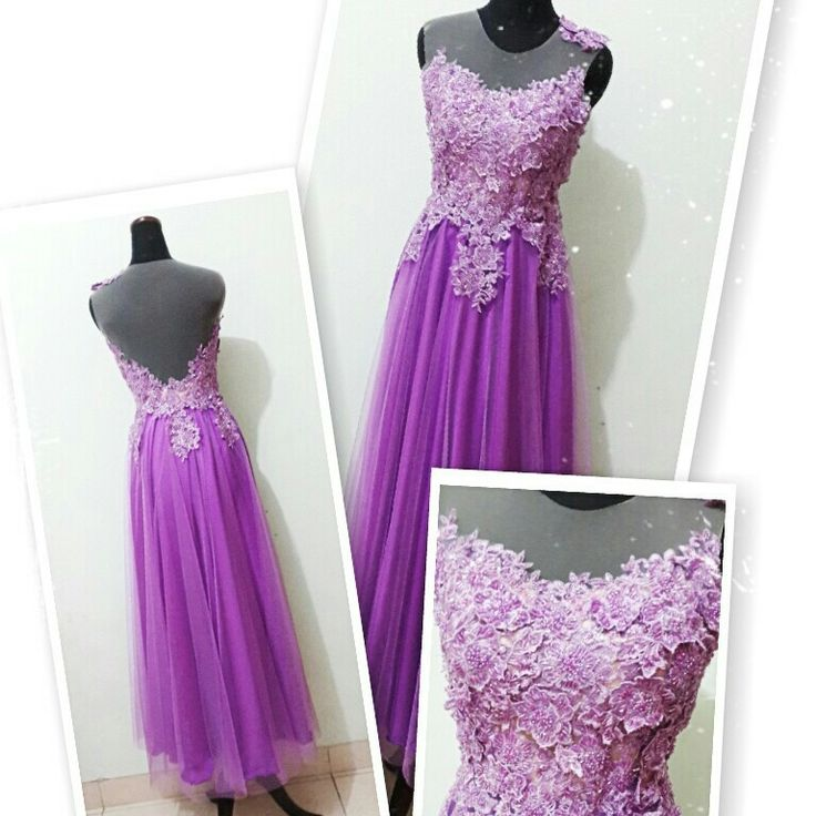 Purple long dress. 3d appliques and swarovski details