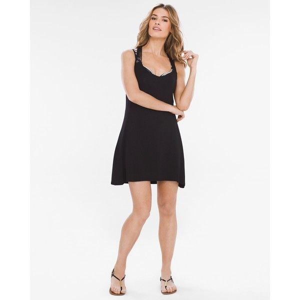 Chico's Dotti Beachside Beauty Beach Dress ($49) ❤ liked on Polyvore featuring dresses, black, dot dress, swim dresses, strap dress, strappy dress and polka dot dress