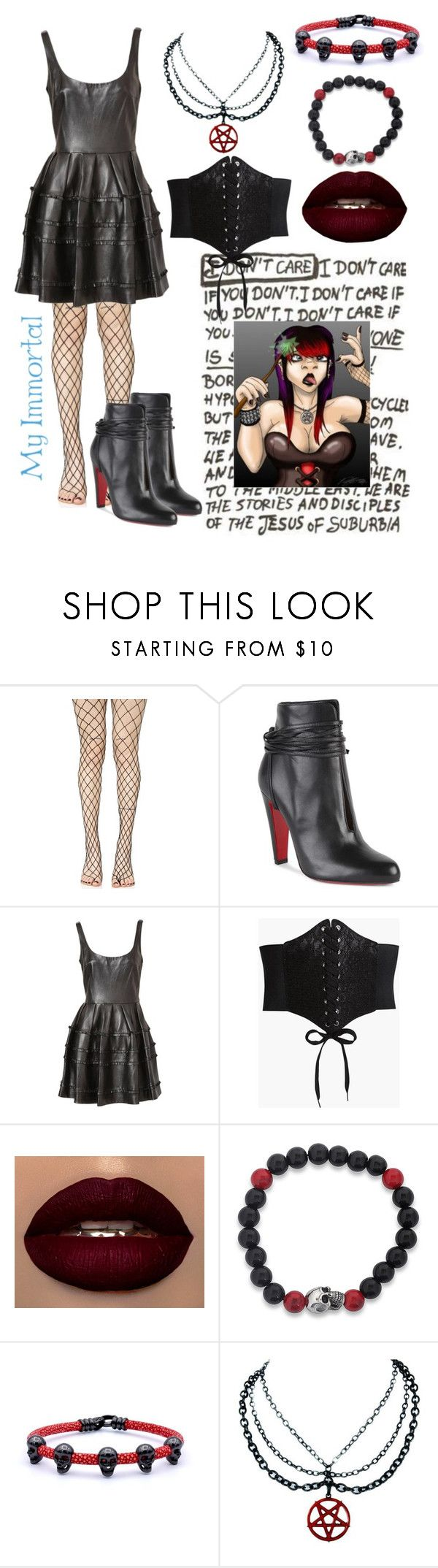 """My Immortal chap 12: Ebony Dark'ness Dementia Raven Way"" by just-a-dizzy-lizard ❤ liked on Polyvore featuring Leg Avenue, Christian Louboutin, Boohoo and West Coast Jewelry"