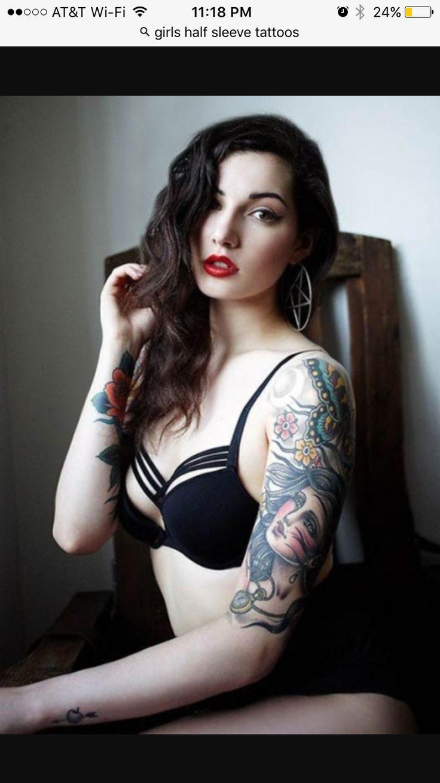 Tattoed Little Girl Doing Her Best...