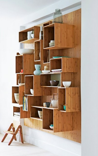 Use of eco friendly bamboo wood for schematic wall boxes. Really love this idea for a feature wall.