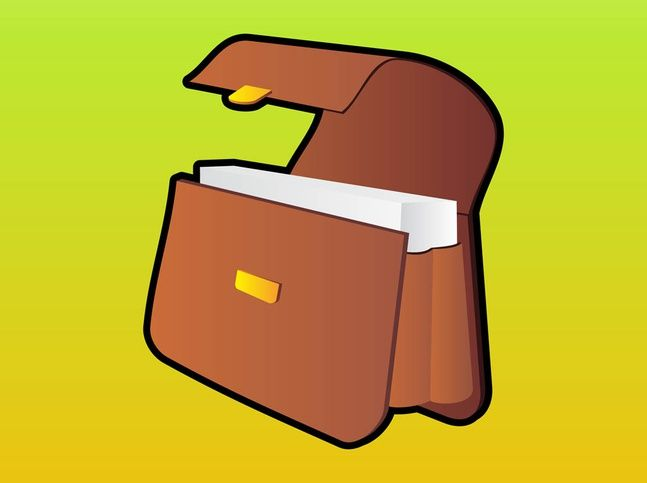 Briefcase: Vector graphics of a leather briefcase. Cartoon icon with dark outlines and golden buckle for closing. Sheets of paper inside the leather bag. Free vector for fashion, style, purses, bags and accessories designs. Businessman briefcase for icons, company logos, stickers and banners.  Leather Bag by Shmector.com License: Creative Commons 3.0 Attribution