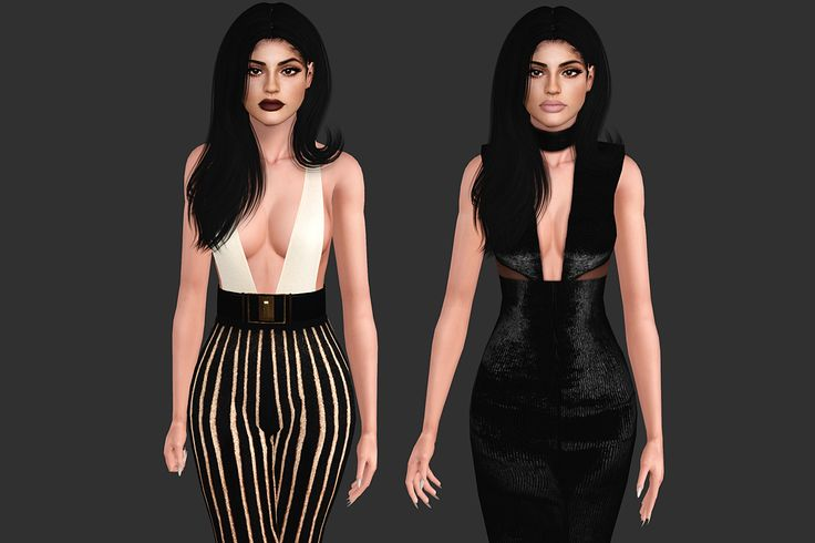 Kylie Jenner x Galore Magazine [TS3] 1. Balmain plunging top and striped lurex knit pants with high-waisted velvet belt 2. Michael Costello karina dress • Everyday / Formal • Sims3pack /...