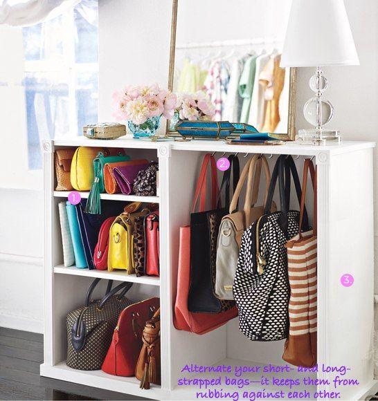 I wish I had room for this!!  bag storage- dress up a plain bookcase with molding. use sweater dividers to cordon off and protect bags made of delicate materials. to help bags keep their shape hang them from hooks affixed to the top of your storage space or unit.