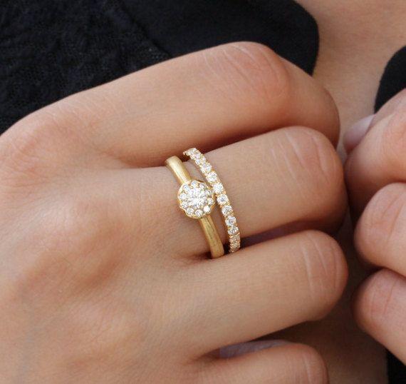 De compromiso de diamantes 14k anillo de compromiso de oro DINARdiamonds POR anillo