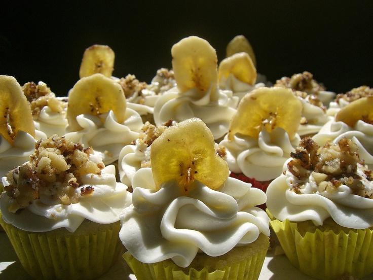 Monkey Bites* {Banana Mini Cupcakes ~ Banana Cream Cheese Frosting ~ Rum Candied Walnuts}