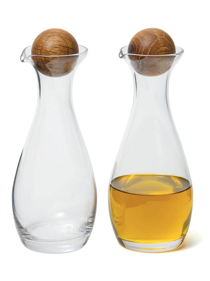 Sagaform Oval Oak Oil/Vinegar Bottles - David Mellor Design #tableware #kitchenware