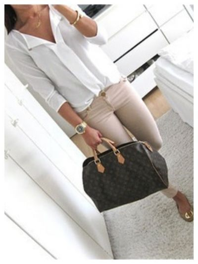Luxury look. LV Bag. Tory Burch flats. Beige and white outfit.