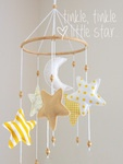 "Twinkle twinkle little star mobile.       To place your order,   proceed to checkout   and specify colour.    ♥      ----------------------------------  8"" (20cm) diameter  Each star is approx 5"" (12cm)  Overall height approx 23"" (60cm)  Ceiling hook included  -------------..."