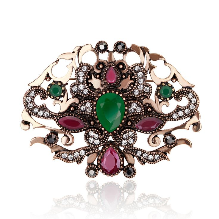 Women Jewelry Crown Design Vintage Resin Simulated Ruby Brooch Pins Rhinestone Brooches Indian Jewelry Accessoires(