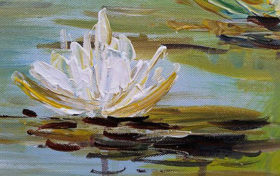 Impresionista de lirios de agua flores pintura al óleo sobre