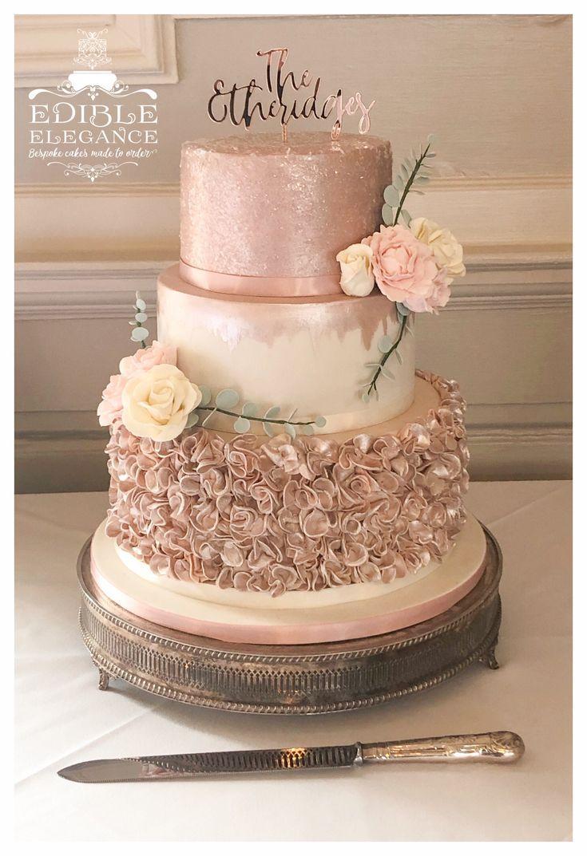 #wedding #rosegold #blush #ivory #weddingcakes #cake #tieredcake #ruffles #sugarflowers