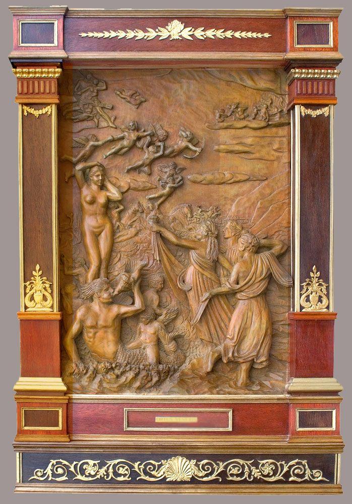 """J. M. Félix Magdalena.- """"ORTUS VENERIS"""" Relieve iallado en madera de arce, 95 x 65 x 9 cm"""