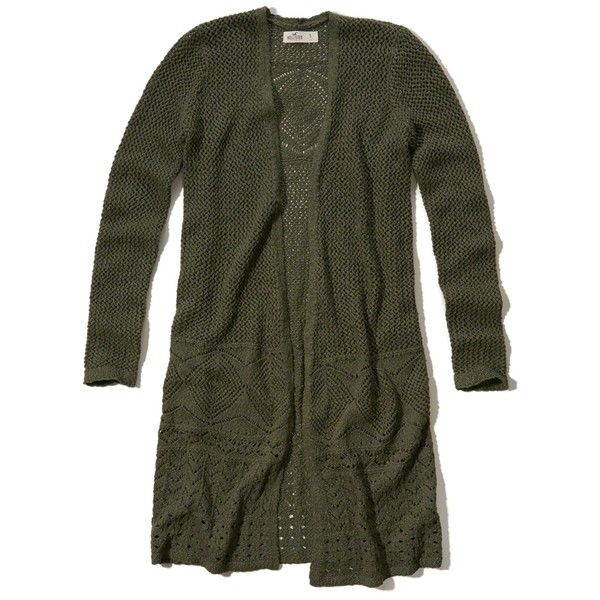 Hollister Non-Closure Duster Cardigan ($35) ❤ liked on Polyvore featuring tops, cardigans, sweaters, olive, olive top, cardigan top, army green cardigan, olive cardigan and olive green cardigan