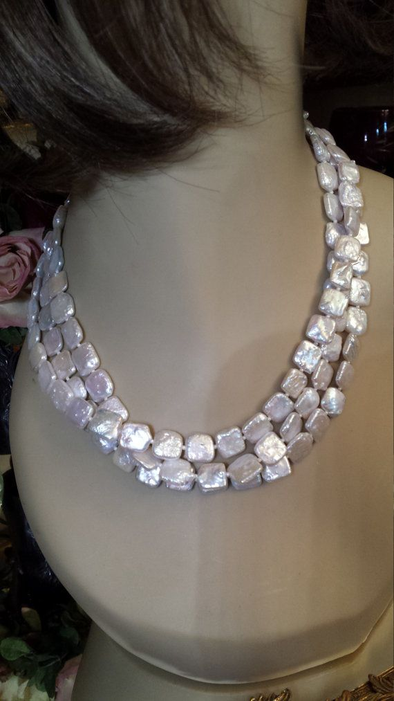8d73088fc70 Three strand square flat freshwater pearls necklace | Jewelry ...