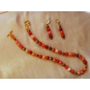 Fire Agate & gold bead necklace, 50cm