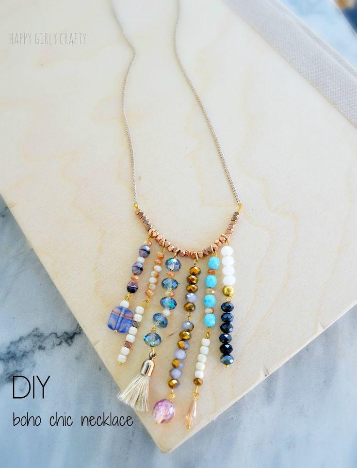 happy girly crafty: Boho chic statement necklace DIY!