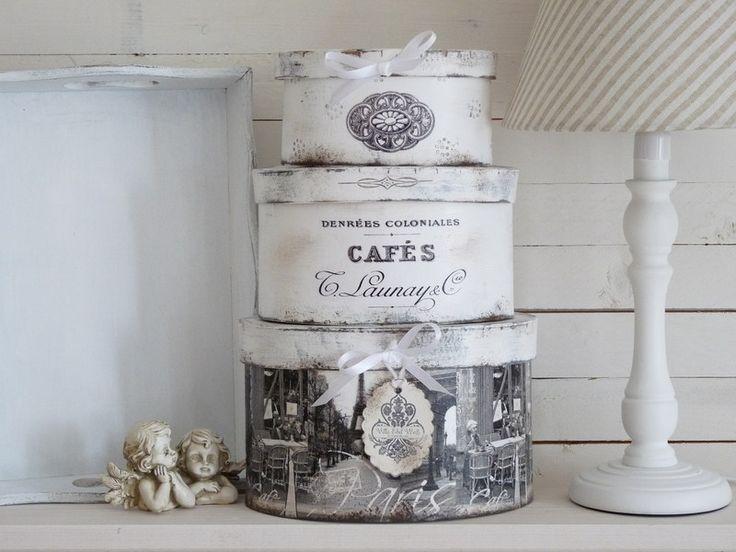 vintage Boxen-Set Paris-Cafe - ♥ Shabby chic Boxen-Sets von EmiliaLotte…
