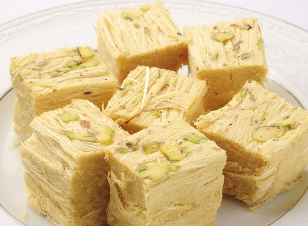 So yummy, like almond/pistachio cotton candy.  Soan Papdi is a traditional Indian sweet treat.  One day I'll give this a try.  Have to visit the Indian grocery first, which is always fun!