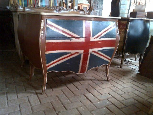 antique commode combination with england's flag