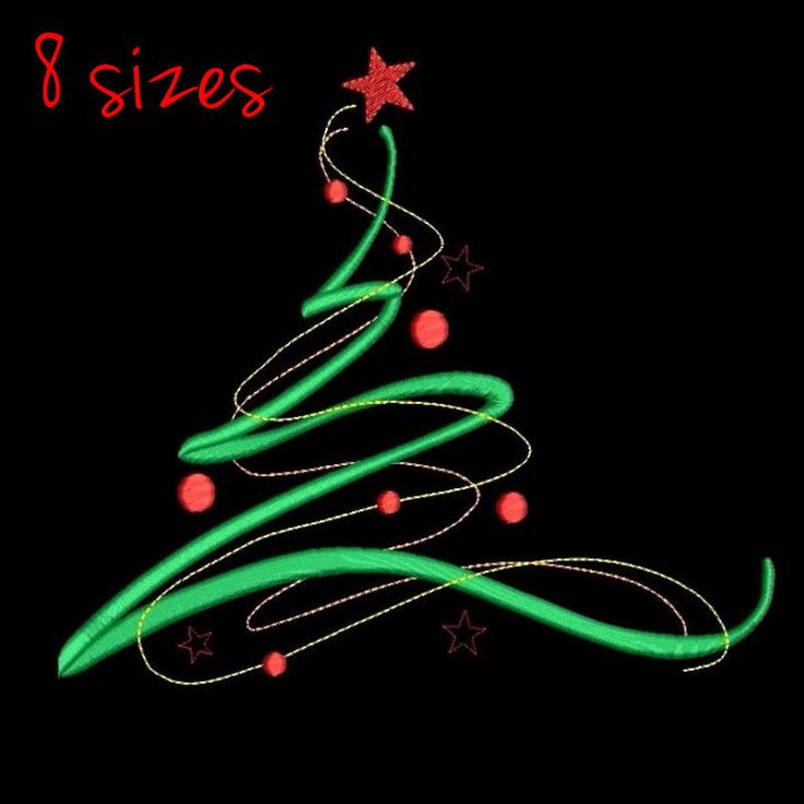 Christmas tree machine embroidery design digital instant download pattern holiday designs in the hoop pes files by SvgEmbroideryDesign on Etsy