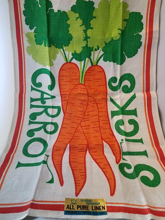 Vintage Linen Carrot Tea Towel by Franco NOS