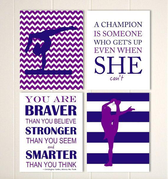 Gymnastics wall art, girl gymnast, cheerleader wall art, teen girl wall art, gift for girl, girls sports wall art, Set of 4 prints by PicabooArtStudio