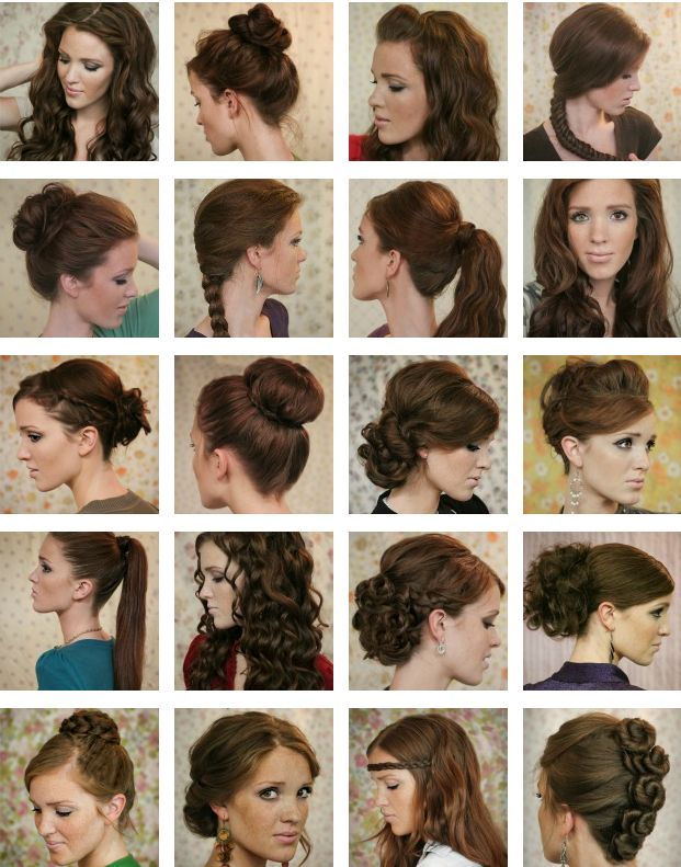 20 different gorgeous hairstyles for work, home, a date, school, the beach, a night out, or anything else. This girl is amazing, click on the link then click on the picture you like and you're taken to the tutorial!