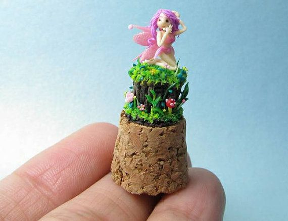 Hey, I found this really awesome Etsy listing at https://www.etsy.com/listing/219261689/micro-clay-cute-pink-fairy-on-cork-top