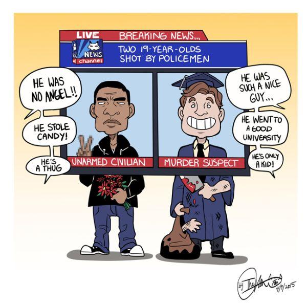 Political cartoon skewers biased mediacoverage