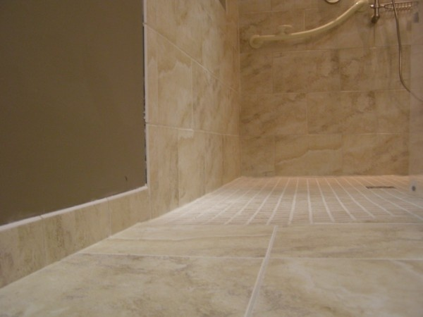 Curbless Shower entry  A properly built tile curbless