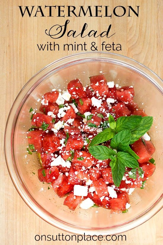 Make this fresh Watermelon Mint Salad with Feta Cheese for an easy summer side dish. It's perfect for any family gathering or summer party!