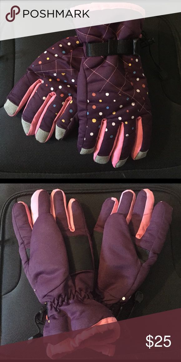 Women's Polka Dot Winter Gloves NWOT!  Never worn.  Super cute polka dot pattern on purple waterproof material!  Great for skiing or a snow day! Accessories Gloves & Mittens