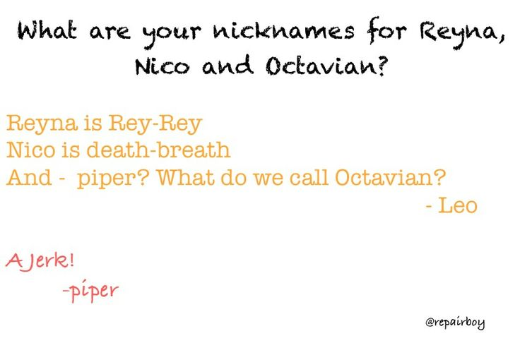 Aww Death Breath I <3 Nico. I have a feeling that they might have a little bit stronger a name for Octavian, though.
