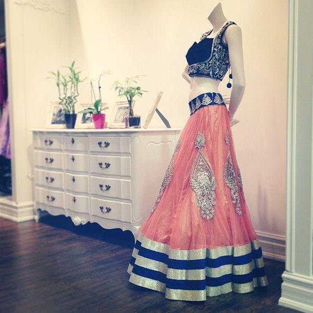 stunning Lehenga  by CTC WEST. Blue and peach Lehenga.   Bridal wear.  South Asian bridal clothing