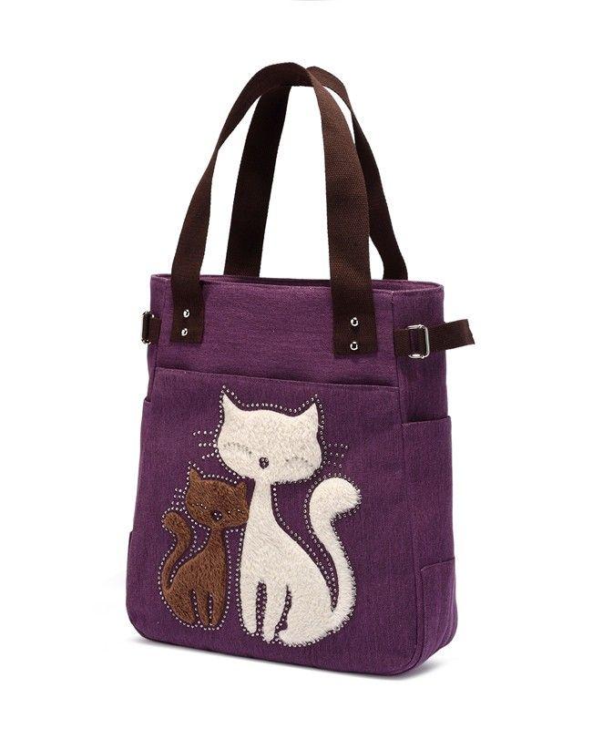 2016 женская сумка холщовый мешок с милой кошка аппликации портативный мода дамы мешочки купить на AliExpress