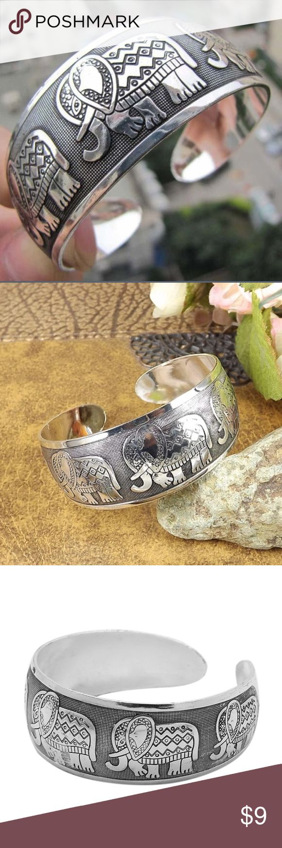 Tibetan Silver Elephant Cuff Bracelet Boho elephant bangle bracelet 💫 Bracelet is adjustable to fit any size wrist. Perfect for stacking and layering, or just wearing alone as a statement piece! Jewelry Bracelets