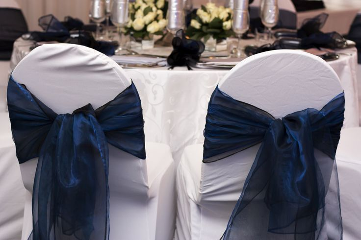 White & Navy Chair Covers