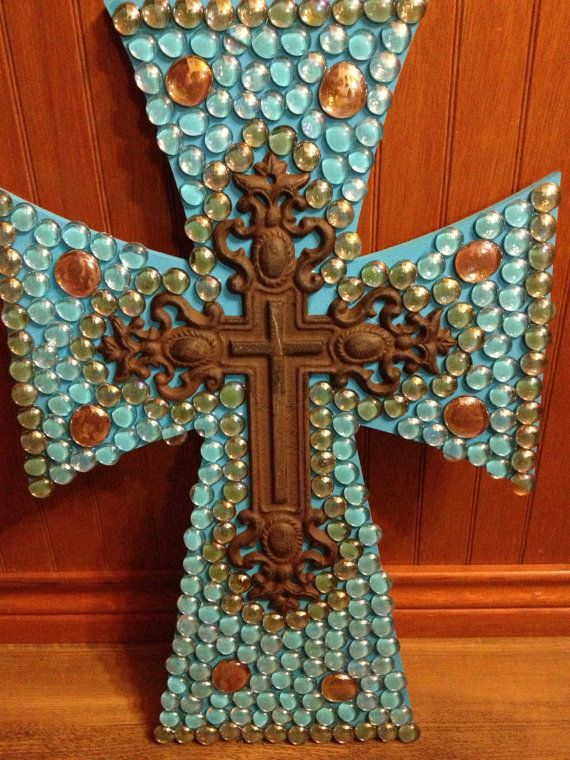 Decorated wooden cross by grammieself on Etsy, $50.00