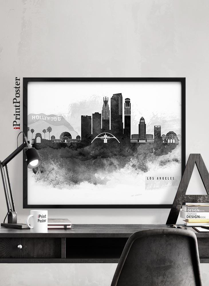 Los Angeles print, LA skyline poster, Hollywood, California, black & white poster, wall art, Travel, City prints, Home Decor, iPrintPoster by iPrintPoster on Etsy