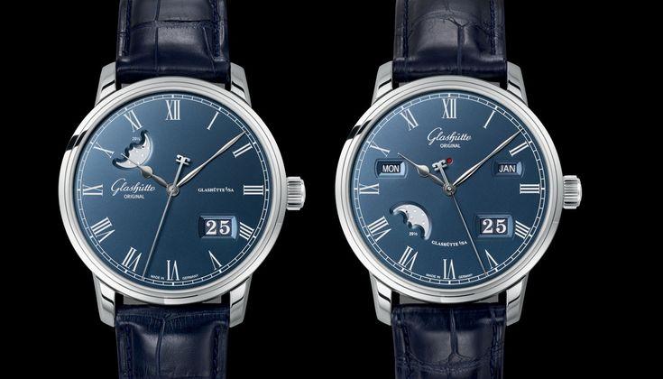 Glashütte Original Senator Perpetual Calendar & Senator Panorama Date Moon Phase Boutique Edition Watch With Blue Dials