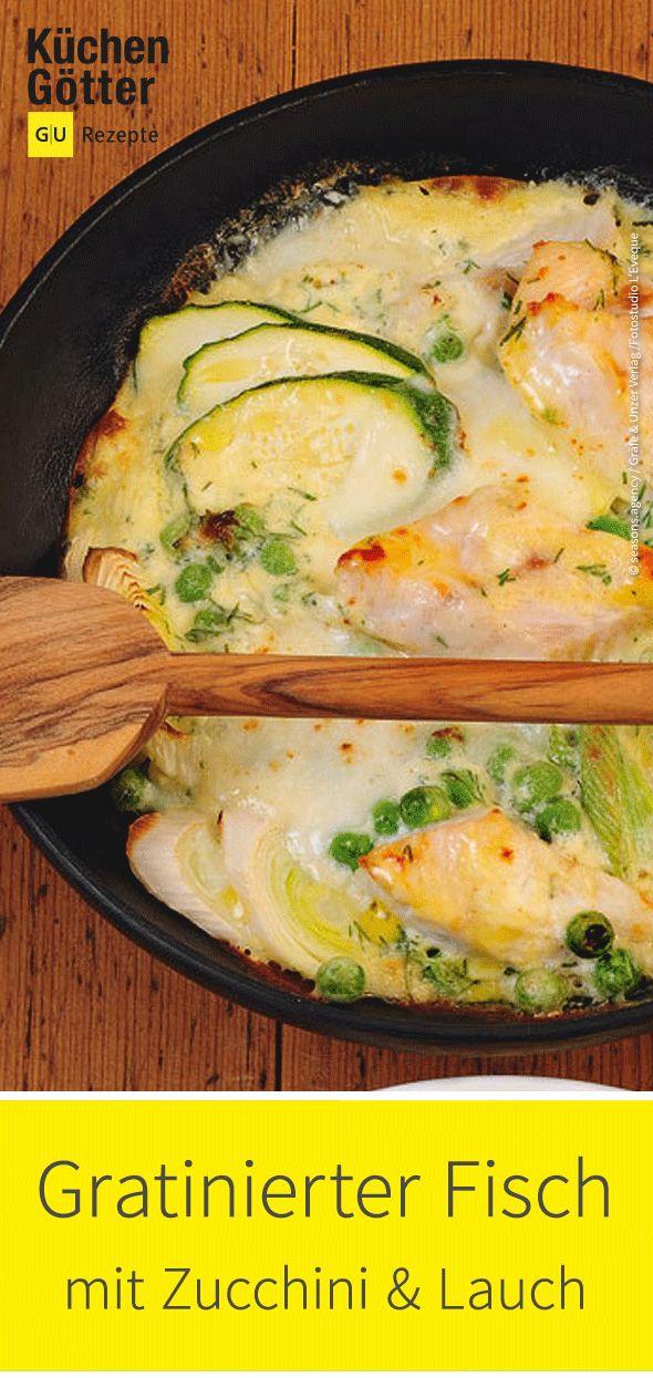 Schneller gratinierter Fisch mit Lauch und Zucchini
