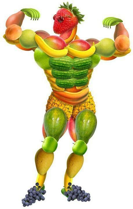 Fruits and Vegetables Man! What a set of abs!